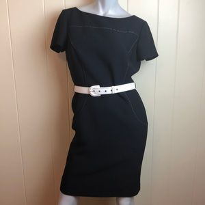 Tahari Black White Classic Career Sheath Dress